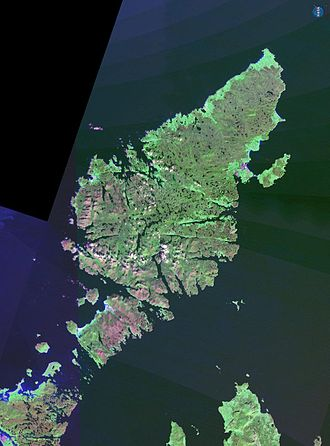 Shiant Isles - Landsat image of the Little Minch.  The Shiant Isles are at centre between the much larger islands of Lewis and Harris to the west and northern Skye, to the south.