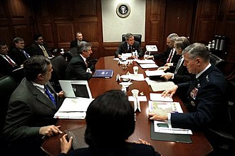 Situation Room - President George W. Bush meeting with his war council in the Situation Room on March 21, 2003