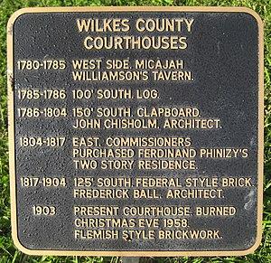Wilkes County Courthouse (Washington, Georgia) - Plaque listing courthouses
