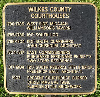 Wilkes County Courthouse (Georgia) - Plaque listing courthouses