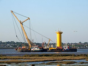 English: Wind-Farm work barges Pictured on Sat...
