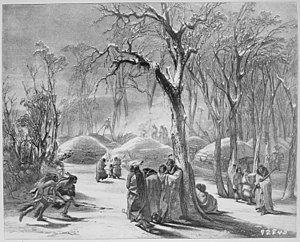 Like-a-Fishhook Village - Winter village of the Manitaries (Hidatsa) in Dakota Territory, 1833 - NARA - 530977. An earth lodge in a winter village was small and only used a few months a year. Some times the village was swept away by the Missouri in the spring rise.