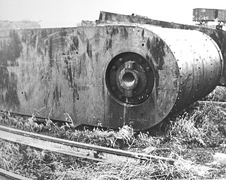 La Coupole - Section of one of the bomb-proof doors for either Gustav or Gretchen tunnels. Segments of the doors were found by Allied troops at a storage dump near the Watten railway station.