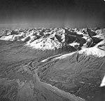 Wolverine Creek Glacier, terminus of valley glacier, turning into rock glacier, August 25, 1969 (GLACIERS 6941).jpg
