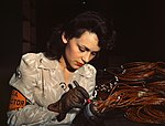 Woman aircraft worker, Vega Aircraft Corporation, Burbank, Calif, Shown checking electrical assemblies.jpg