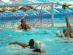 Goalkeeper (water polo) - A water polo goalkeeper in the ready position (with her hands near the top of the water)