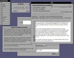 Capture d'écran du navigateur World Wide Web