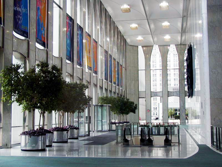 Lobby of the North Tower, looking south along the east side of the building, August 19, 2000 World Trade Center lobby, 08-19-2000.png