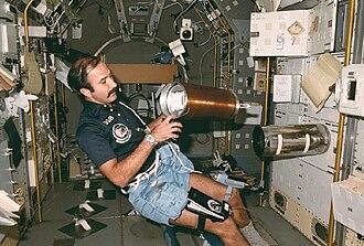 Spacelab - Wubbo Ockels in the lab, 1985