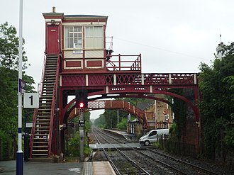 Wylam railway station - Looking east from the Newcastle-bound platform towards Newcastle