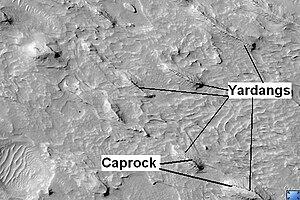Yardangs on Mars - Image: Yardangs in Medusae