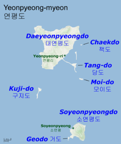 Map of the Yeonpyeong islands and their main population centers