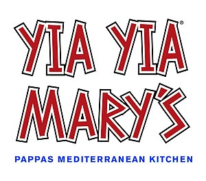 """Logo with the text """"Yia Yia Mary's"""" in red lettering and """"Pappas Mediterranean Kitchen"""" in blue lettering below"""