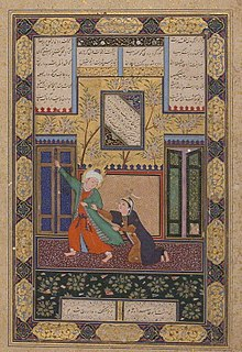 Yusuf and Zulaikha , Folio 51r from a Bustan of Sa`di MET sf1974-294-4r crop.jpg