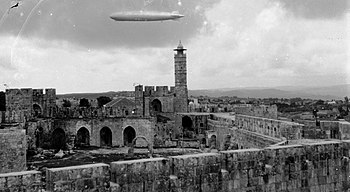 Zeppelin over Tower of David. Jerusalem. matpc.13812.jpg