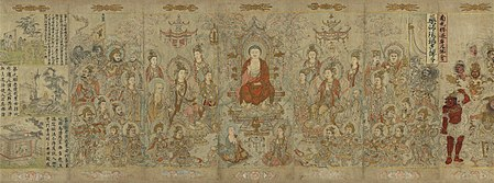 A landscape oriented painting showing a Buddha in red robes, seated in a throne, surrounded by sixteen adult figures and one baby. With the exception of the baby, all of the figures, including the Buddha, have blue halos.