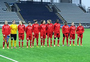 Zvezda 2005 Perm - Lining up for a UEFA Women's Champions League match at Linköpings in 2014