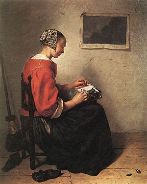 Caspar Netscher - The Lace Maker by Caspar Netscher (1662), oil on canvas, 33 x 27 cm. Wallace Collection, London