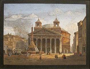The Pantheon, Rome, and Piazza delle Rotunda with Fountain