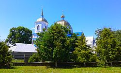 (08) WIKIMEDIA PANORAMIC VIEW ON ORTHODOX CATHEDRAL AND ST ANNA CATHOLIC CATHEDRAL CITY OF BAR VINNYTSIA REGION STATE OF UKRAINE 20150727.jpg