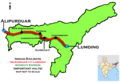 (Alipurduar - Lumding) InterCity Express Route map.png