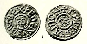Æthelweard of East Anglia - The obverse and reverse of a coin from the reign of Æthelweard.