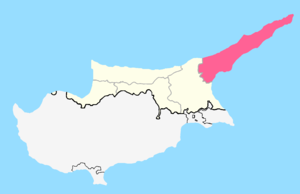 İskele District - Location of İskele district within Northern Cyprus.
