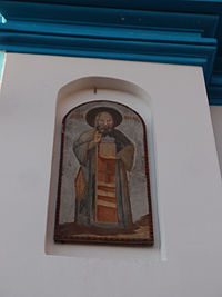 Икона-фреска на стене Церкви Успения Пресвятой Богородицы, Обухово, Пятницкое шоссе от Солнечногорска 8 км.jpg