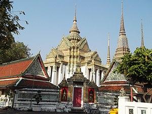 Wat Pho - Phra Mondop of Wat Pho.  Beside its entrances are statues of Yak Wat Pho.