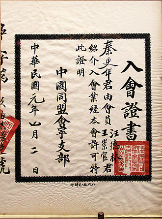 Tongmenghui - Credential of Tongmenghui.