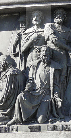 Александр Невский на памятнике «Тысячелетие России» в Великом Новгороде