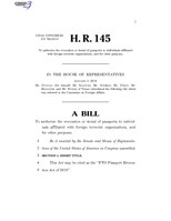 116th United States Congress H. R. 0000145 (1st session) - FTO Passport Revocation Act of 2019.pdf