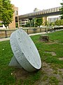 14 hour clock monument at Lucy Larcom Park; left side; Lowell, MA; 2011-09-03.JPG
