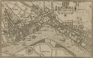 "Strand, London - This 1593 map shows ""The Strande"" as the principal route – parallel to the River, from the City in the east, to Whitehall in the west."