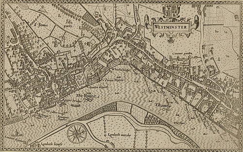 "This 1593 map shows ""The Strande"" as the principal route - parallel to the River, from the City in the east, to Whitehall in the west 1593 Norden's map of Westminster surveyed and publ 1593 (1).jpg"