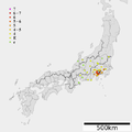 1782 Tenmei Odawara earthquake intensity.png