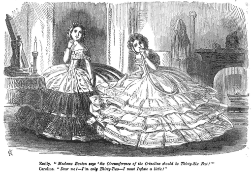 17 January 1857. Inflatable crinolines as seen in Punch