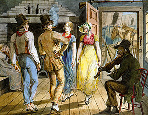 Pavel Svinyin - Merrymaking at a Wayside Inn, a watercolor by Pavel Svinyn of his trip to the United States in the early 1810s.