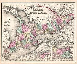 Grey County - Canada West in 1857. Grey County is marked in dark pink.