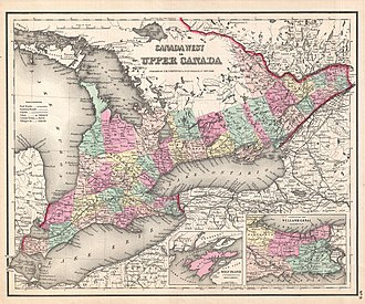 Wellington County, Ontario - Canada West in 1857. Wellington County is marked in light yellow.