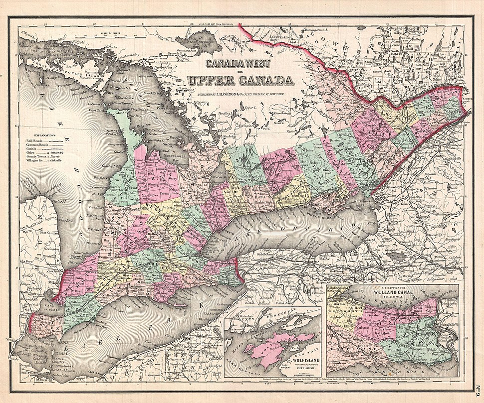 1857 Colton Map of Ontario, Canada - Geographicus - CanadaWest-colton-1857