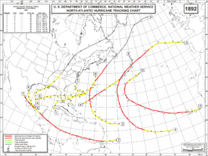 1892 Atlantic hurricane season - Image: 1892 Atlantic hurricane season map