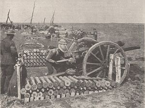 Ordnance QF 18-pounder - Australian gun crew in action in the Ypres sector, 28 September 1917