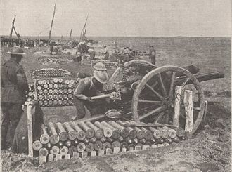 QF 18-pounder gun - Australian gun crew in action in the Ypres sector, 28 September 1917