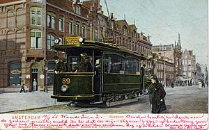 Trams in Amsterdam -  Line 1 with motorcar 89 on the Overtoom; 1904.