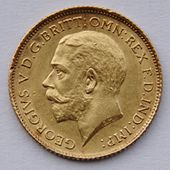 Gold coin with left-facing profile portrait of George V