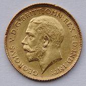 George V'in sola bakan profil portresi ile altın sikke