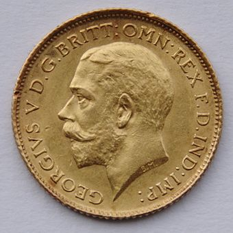 A half-sovereign minted during George's reign (Bertram Mackennal, sculptor) 1914 Sydney Half Sovereign - George V.jpg
