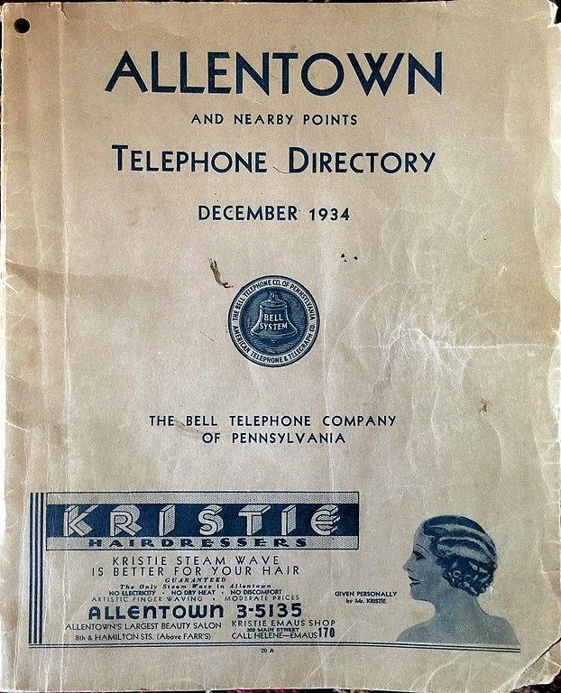 File 1934 Allentown Telephone Book Allentown Wikimedia