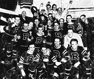 Philadelphia Phantoms - The first of three Philadelphia AHL predecessors to the Phantoms, the 1938-39 Philadelphia Ramblers celebrate a play-off series win over the Hershey Bears (I-AHL).